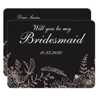 Elegant Floral On Black Bridesmaid Invitation