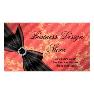 Elegant Floral Orange Blossom Black Diamond Bow Business Card Templates