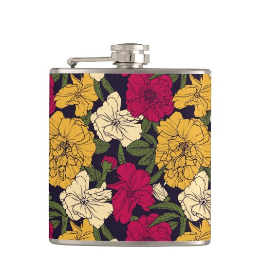 Elegant floral pattern flasks