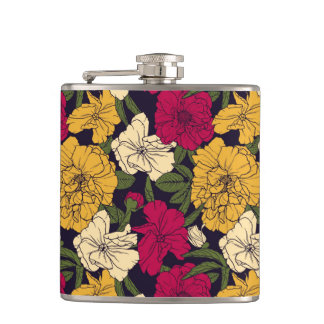 Elegant floral pattern hip flask