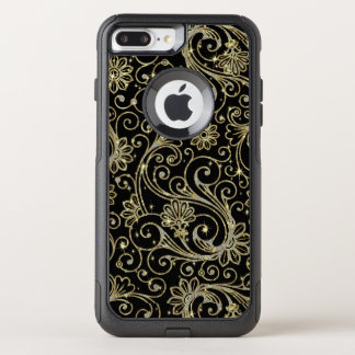 Elegant Floral Pattern In Gold & White Glitter OtterBox Commuter iPhone 8 Plus/7 Plus Case
