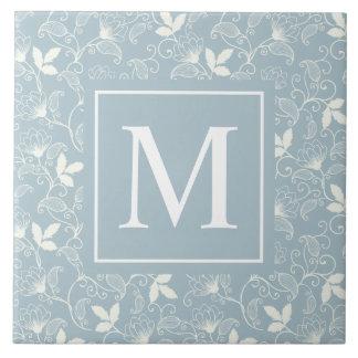 Elegant Floral Pattern Monogram | Ceramic Tile