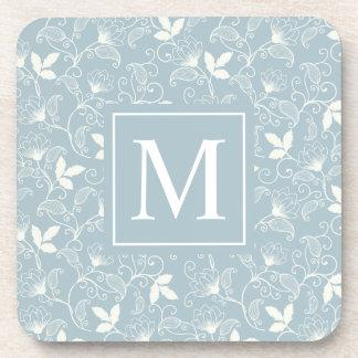 Elegant Floral Pattern Monogram   Coaster