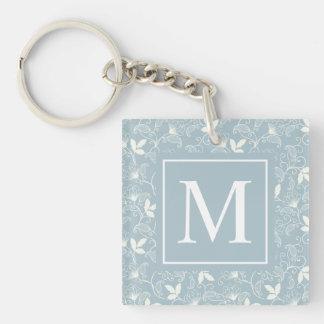Elegant Floral Pattern Monogram | Keychain