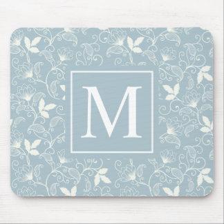 Elegant Floral Pattern Monogram | Mousepad