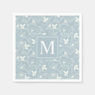 Elegant Floral Pattern Monogram   Napkin Disposable Napkin
