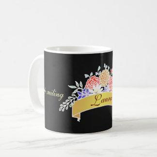 Elegant Floral Pattern on Chalkboard Coffee Mug