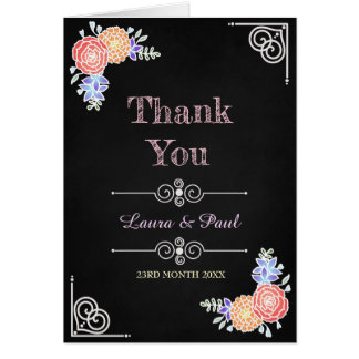 Elegant Floral Pattern on Chalkboard Thank You Card