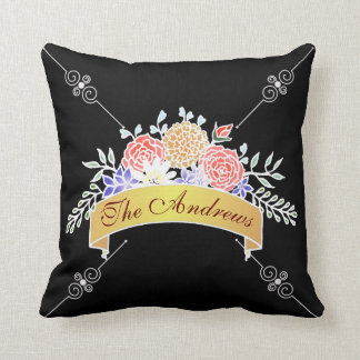 Elegant Floral Pattern on Chalkboard Throw Pillow