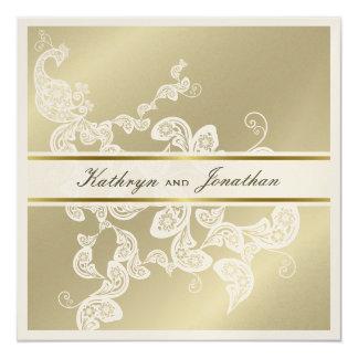 "Elegant Floral Peacock White Wedding Invitation 5.25"" Square Invitation Card"