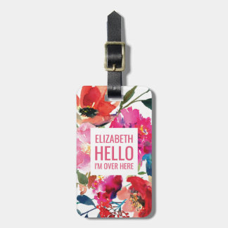 Elegant Floral Personalized Girly Colorful Travel Luggage Tag