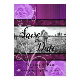 Elegant floral plum & black wedding save the date card