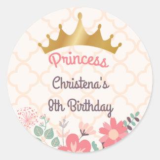 Elegant Floral Princess Birthday Round Sticker