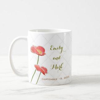 Elegant Floral Red Poppies Wedding Mug