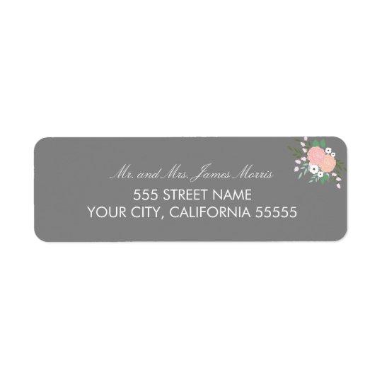 Elegant Floral Return Address Labels - Grey