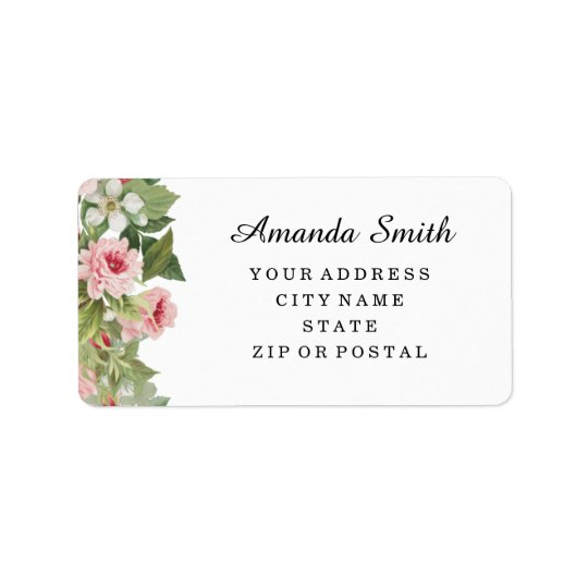 Elegant floral rose address labels
