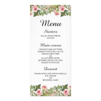 Elegant floral rose spring / summer wedding menu customized rack card