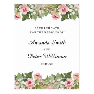 Elegant floral rose wedding save the date postcard