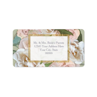 Elegant Floral Rose Wreath Gold Glitter Return Add Label