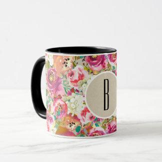 Elegant Floral Rustic Chic Kraft Monogram Custom Mug