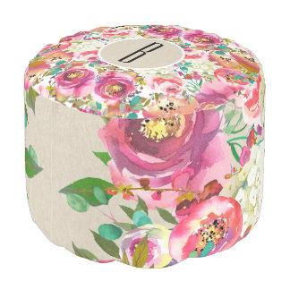 Elegant Floral Rustic Kraft Monogram Shabby Chic Pouf