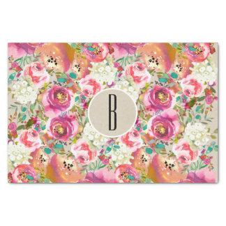 Elegant Floral Rustic Kraft Monogram Shabby Chic Tissue Paper