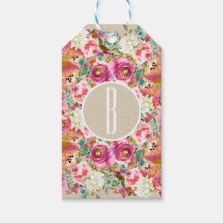 Elegant Floral Rustic Kraft Monogram Wedding Favor Gift Tags