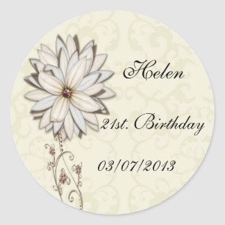 Elegant Floral Save the Date Design Classic Round Sticker