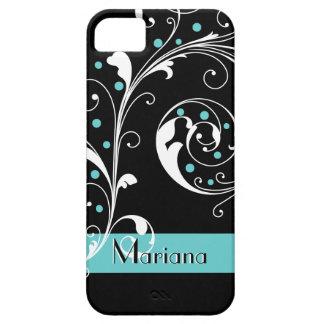 Elegant floral scroll leaf black, aqua flourish iPhone 5 case