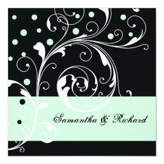 Elegant floral scroll leaf black, mint wedding card