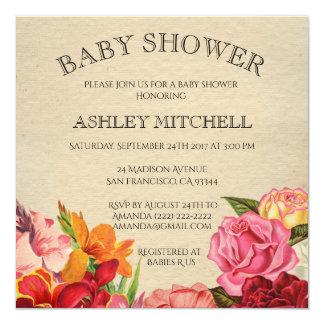 Elegant Floral Shabby Chic Vintage Baby Shower Card