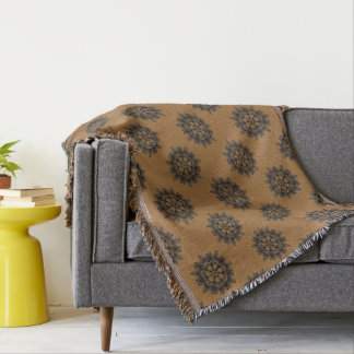 Elegant floral silhouette on chic color throw blanket
