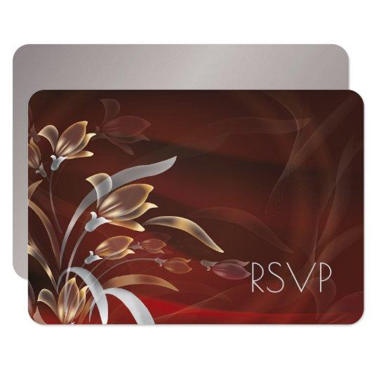 Elegant Floral | Silver Design RSVP Cards