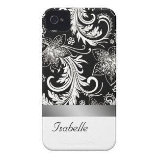 Elegant floral silvery black vintage monogram iPhone 4 covers