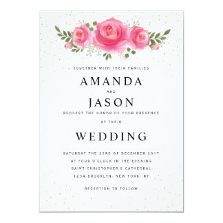 Elegant floral simple modern wedding invitation