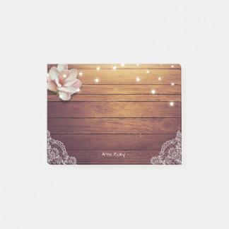 Elegant Floral String Light Rustic Wood Lace Decor Post-it Notes