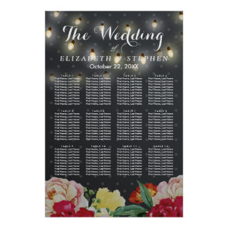 Elegant Floral String Lights Wedding Seating Chart