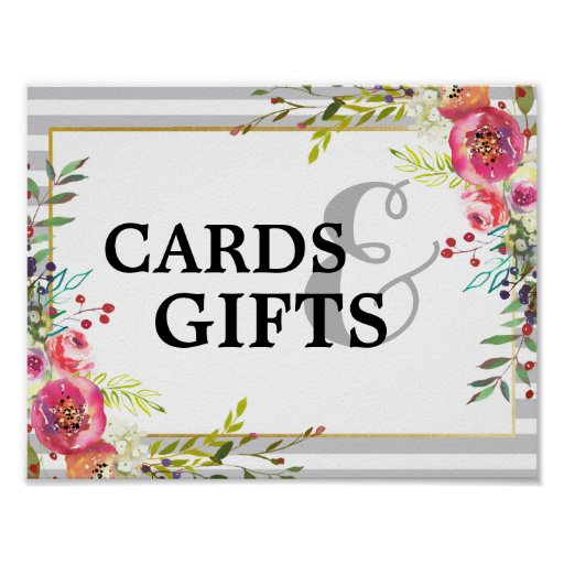 Elegant Floral & Stripes Cards & Gifts Sign