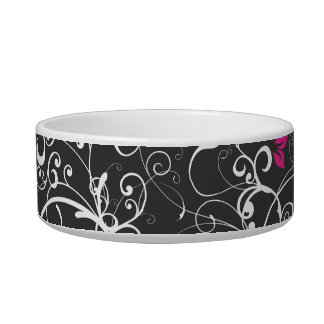Elegant Floral Swirls Cat Food Bowl
