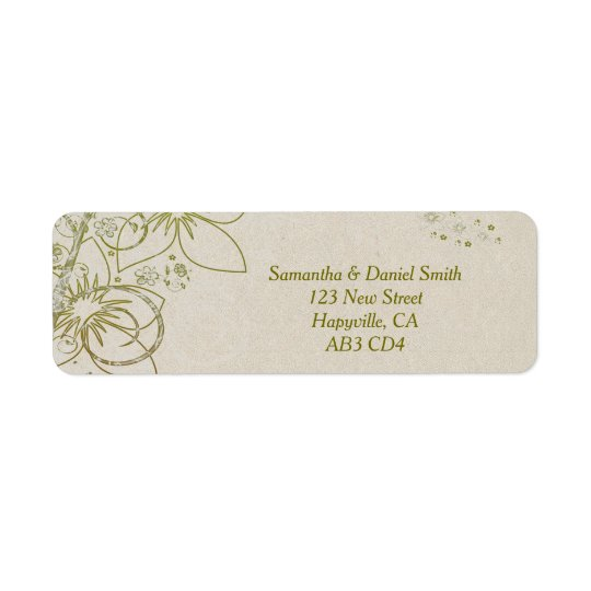 Elegant Floral Swirls Sandstone Background Return Address Label