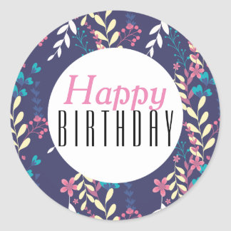 Elegant floral theme Happy Birthday Round Sticker