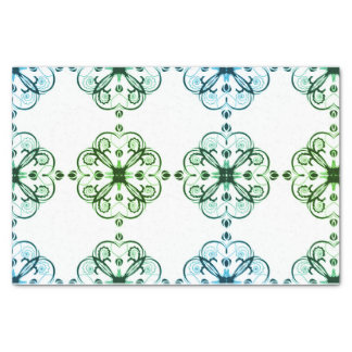 Elegant Floral Tissue Paper Blues