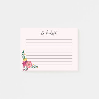 Elegant Floral To Do List Note