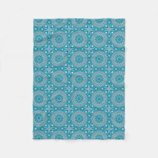 Elegant floral Turquoise Boho vitral pattern Fleece Blanket