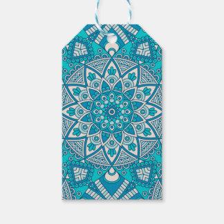 Elegant floral Turquoise Boho vitral pattern Gift Tags
