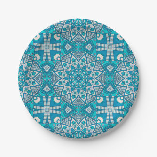 Elegant floral Turquoise Boho vitral pattern Paper Plate
