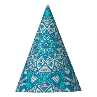 Elegant floral Turquoise Boho vitral pattern Party Hat