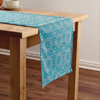 Elegant floral Turquoise Boho vitral pattern Short Table Runner
