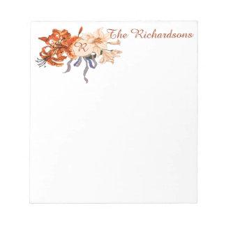 Elegant Floral Vintage Monogram Notepad