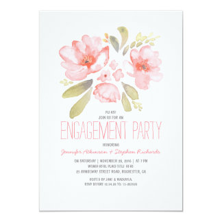 "Elegant Floral Watercolor Engagement Party 5"" X 7"" Invitation Card"